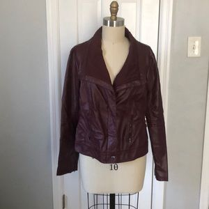 Forever21 Burgundy Faux Leather Moto Jacket